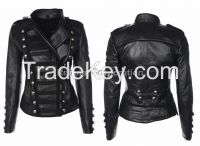 BLACK LEATHER JACKET MOTORBIKE STYLE