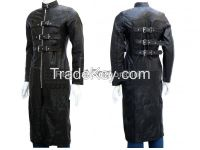 GOTHIC STYLE BLACK LEATHER LONG COAT