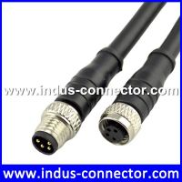 Male female 4pin shielded cable m8 automotive connector