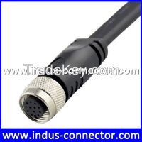 Oblate type female molded 12 pin connector m12 cable