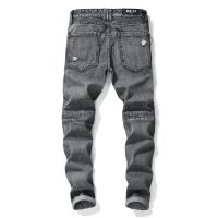 Hot-selling man's moto style ripped slim fit denim jeans for wholesale