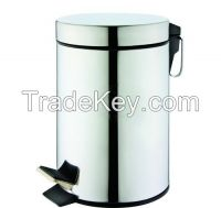 stainless steel pedal trash can and bathroom set