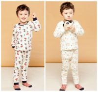 Kids winter fleece warm underwear Boy's thermal sleepwear Child cartoon printing homewear