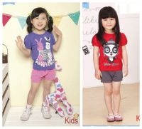 Children stock wholesale baby girl's Korean style Tshirts and pants sets child cotton clothing suits kids summer clothing stock
