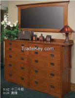 American Style 12 Drawer Cabinet Red Oak KD Lumber Factory OEM Service Solid Wood Dresser