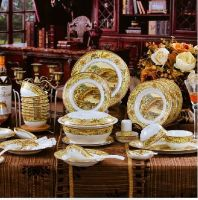 fashion bone porcelain dinnerware sets with flora pattern