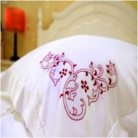 hand embroidery bed linen