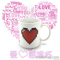 Creative heart shape color change cup