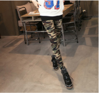 Color Block Modern Style Slimming Camouflage Pattern Leggings For Women