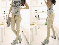 Stylish Lace-Up Solid Color Good Cut Cotton Blend Harem Pants For Women