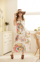Charming Design Halter Neck Tiny Floral Print Bohemian Maxi Dress