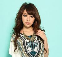 Ethnic Style Scoop Neck Contrast Color Floral Print Short Sleeve Dress