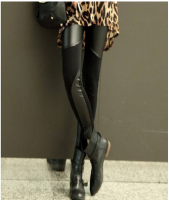 PU Leather Splicing Slimming Simple Design Solid Color Leggings For Women