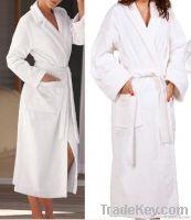 Cotton velour bath robe with shawl collar