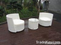 Waterproof White Resin Wicker Chair Set For Home / Restaurant