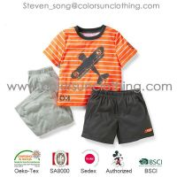 Hot sale summer Boys clothing set Baby Boys Casual Clothing Sets 2014 Kids Apparel Hippo T-shirt+ Short Pant