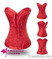 2014 Wholesale Hot red brocade sexy corset