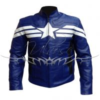 Captain America Blue Leather Motorcycle Jacket