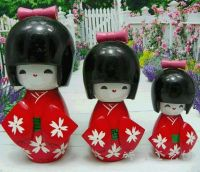 1SET/3PCS HANDMADE JAPANESE KOKESHI GIRLS WOODEN RED DOLLS