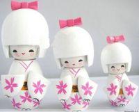 1SET/3PCS HANDMADE JAPANESE KOKESHI GIRLS WOODEN WHITE DOLLS