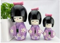 1SET/3PCS HANDMADE JAPANESE KOKESHI GIRLS WOODEN purple DOLLS