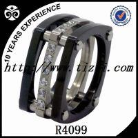 titanium ring CZ , black plating