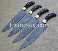 Classic Damascus Chef Knife 4 Piece Set, Twisted Pattern