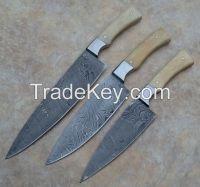 Classic Damascus Chef Knife 3 Piece Set, Twisted Pattern