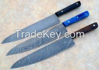 Classic Damascus Chef Knife 3 Pieces Set, Twisted Pattern