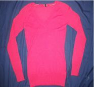 Maroon V Neck Full Sleeves Sweater