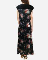 Black Floral Pattern Half Sleeve Maxi Dress