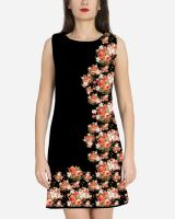 Black Side Print Shift Dress