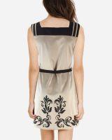 Gabardine Lower Angel Print Shift Dress