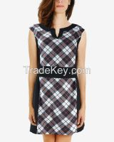 S16DR12- Plaids Black Print Shift Dress