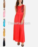 SSDR11-Shoulder Floral Viscose/Cotton Maxi Dress