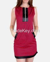 SSDR12-Gabardine/Cotton Squared pattern Sleeveless Dress