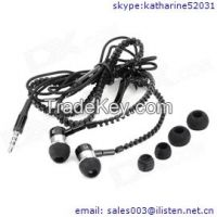 zipper earphone headphone with mic deep bass stereo headset for smartphone mp3 mp4