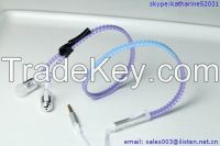 zipper earphone with mic heat-sensitive earphone for mobile phone computer as gift for boys and girls