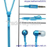 New fashion zipper earphone with mic and volume control FOR mobile phone