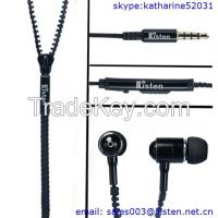New fashion zipper earphone with mic and volume control