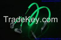 new fashion luminous zipper earphones/hoe selling glowing zip headphones with mic