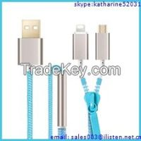 new electronic gadget zipper USB data and charger cable, mobile phone accessory gift