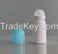 50ml White Roll-on Bottle with Light Blue Screw Cap