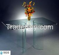 High quality curved glass coffee table