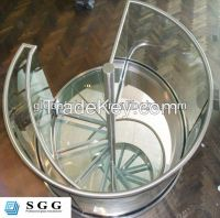 High quality staircase curved glass