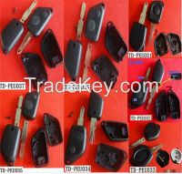 TD 1 button remote key shell fob case , replacement key blank for Peugeot