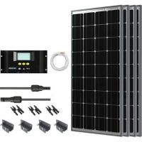 RV Solar Panel Kit 400W with 4 100W Mono Sol Pan +40' Ad Kit/ 30A LCD Chg Con+MC4 Branch Conn+Z Br (RV Solar Panel Kit 400W)