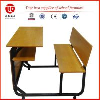 Good quality cheap double yellow fireproof board middle school student desk with bench