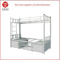 military metal bunk bed for adult with shoe cabinet