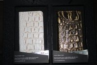 Genuine leather mobile phone case embossed alligator skin handmade Korea